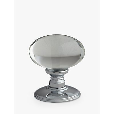 Image of John Lewis & Partners Oval Glass Mortice Knob, Pair, Dia.43mm