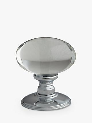 John Lewis & Partners Oval Glass Mortice Knob, Pair, Dia.43mm