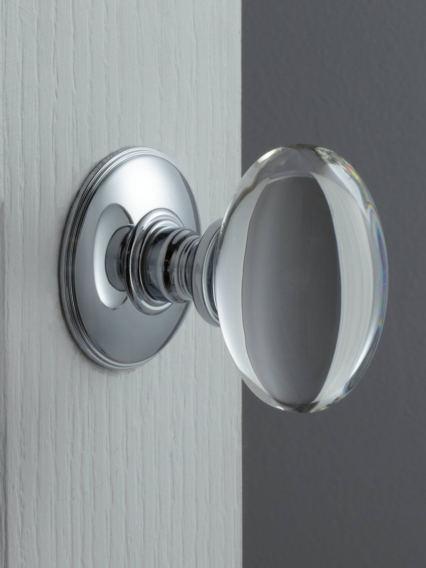 Buy John Lewis & Partners Oval Glass Mortice Knob, Dia.43mm, Pair, Polished Chrome Online at johnlewis.com