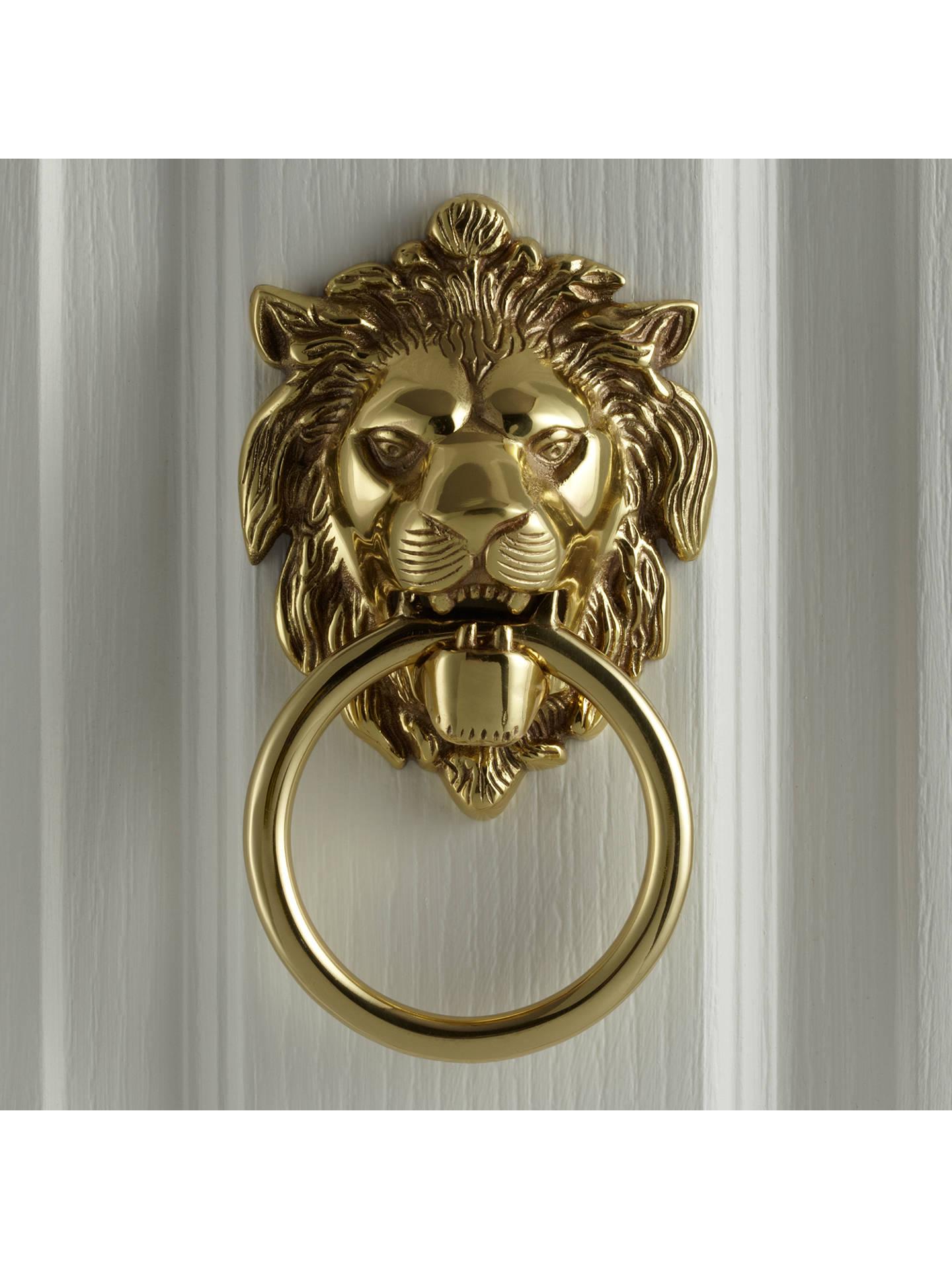 John Lewis Partners Lions Head Door Knocker L14 X W105cm Polished Brass
