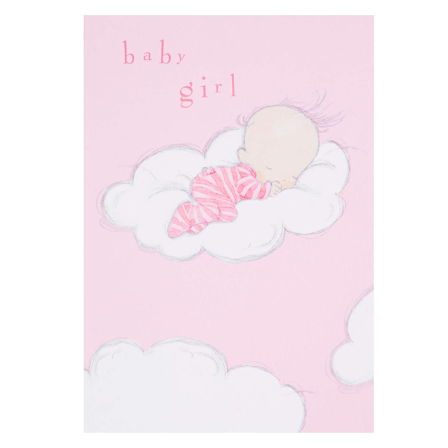 Woodmansterne sleeping on fluffy cloud new baby girl greeting card buywoodmansterne sleeping on fluffy cloud new baby girl greeting card online at johnlewis kristyandbryce Images