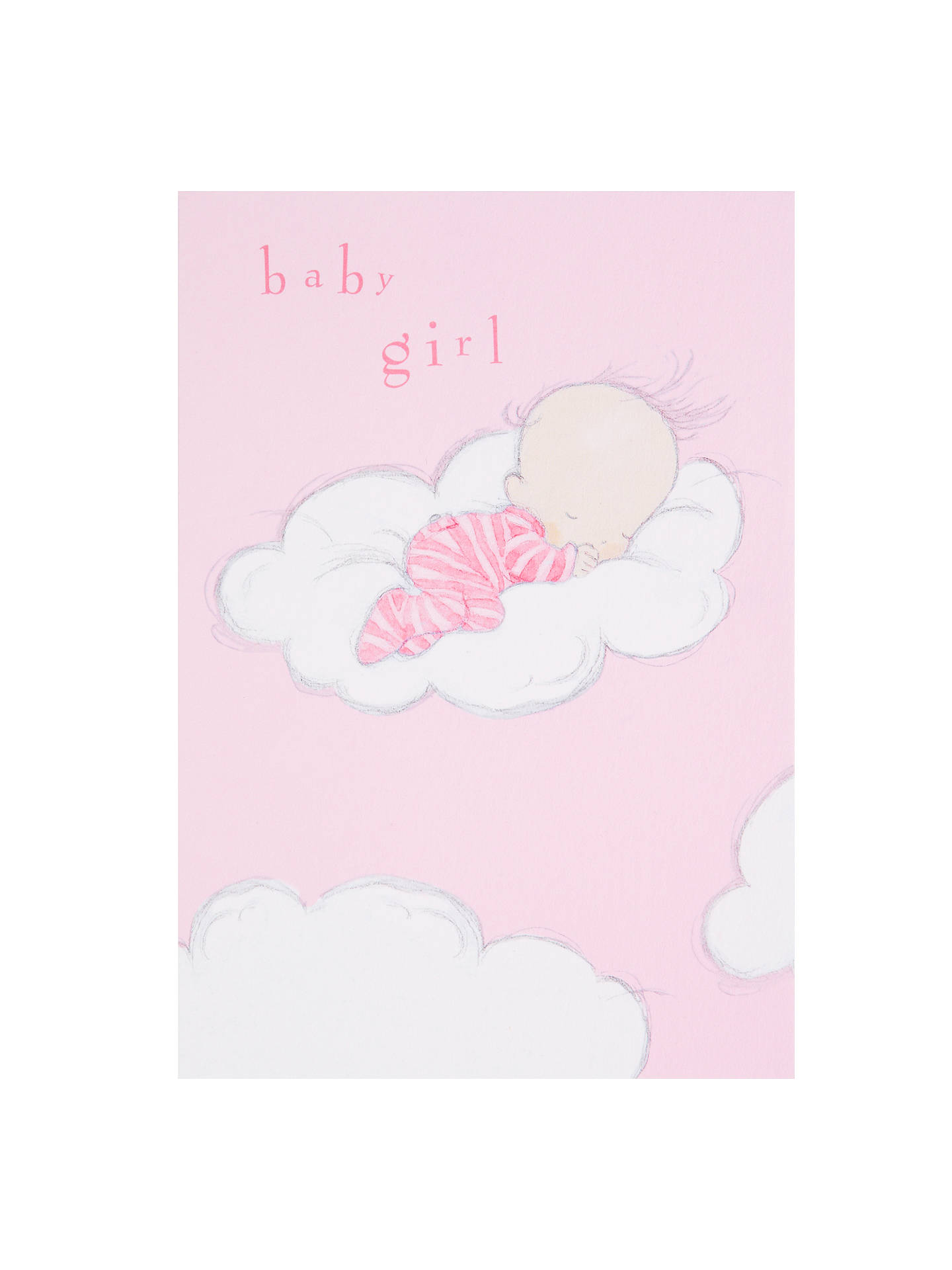Woodmansterne sleeping on fluffy cloud new baby girl greeting card buywoodmansterne sleeping on fluffy cloud new baby girl greeting card online at johnlewis m4hsunfo