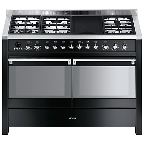 Buy Smeg A4-BL-8 Dual Fuel Range Cooker, Gloss Black Online at johnlewis.com