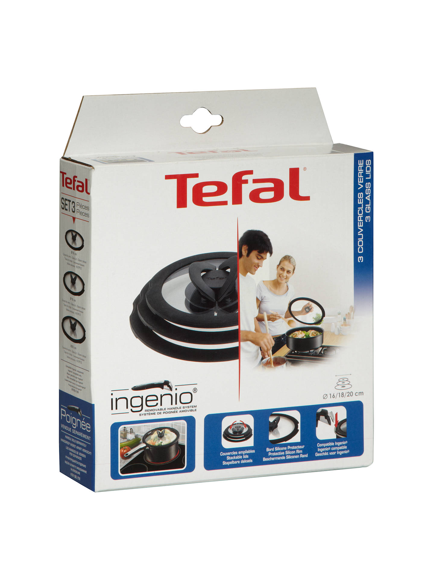 BuyTefal Ingenio Glass Lid Set, 3 Piece Online at johnlewis.com