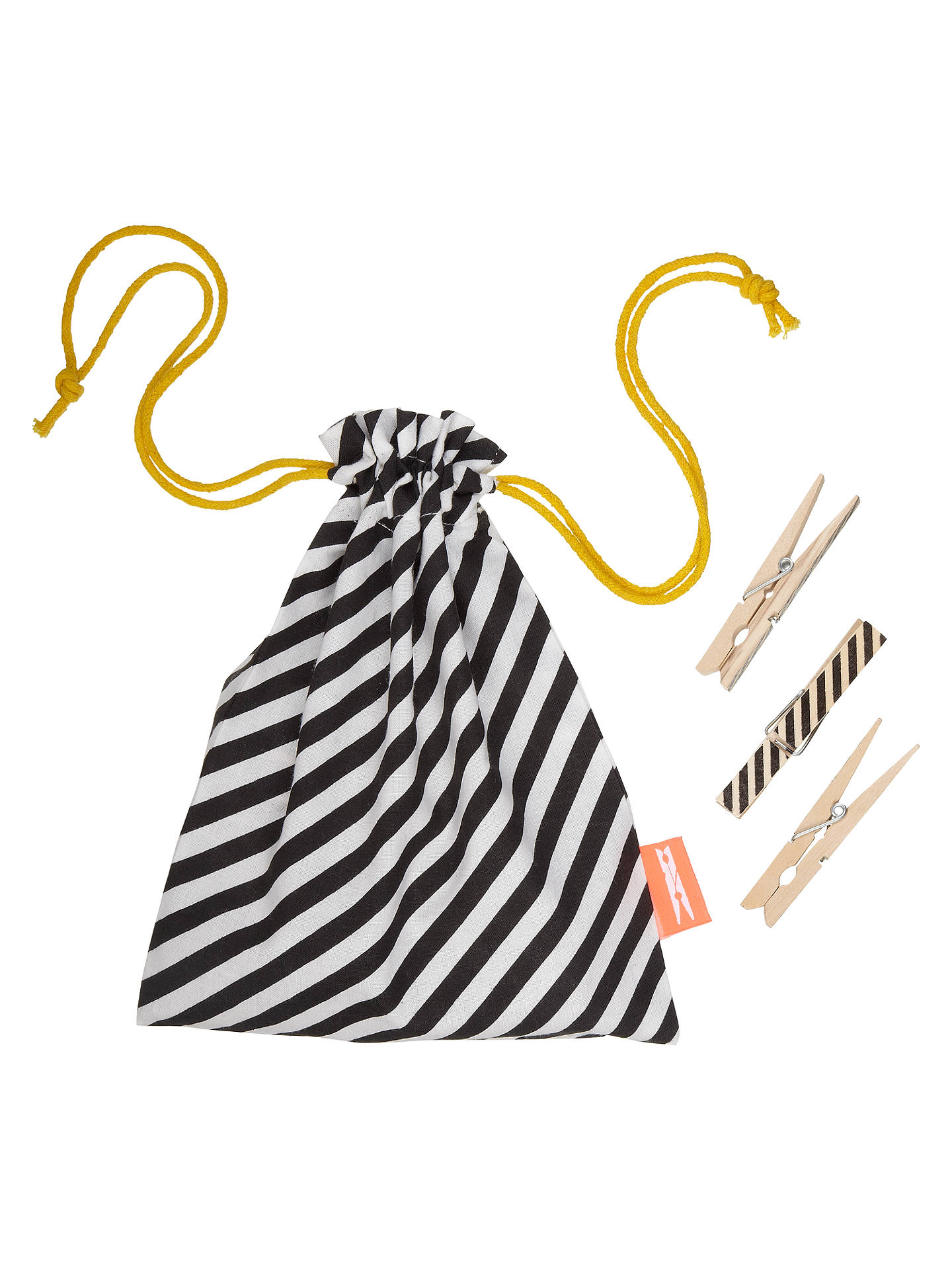 Buyferm LIVING Peg Bag with 20 FSC Pegs, Black Stripe Online at johnlewis.com