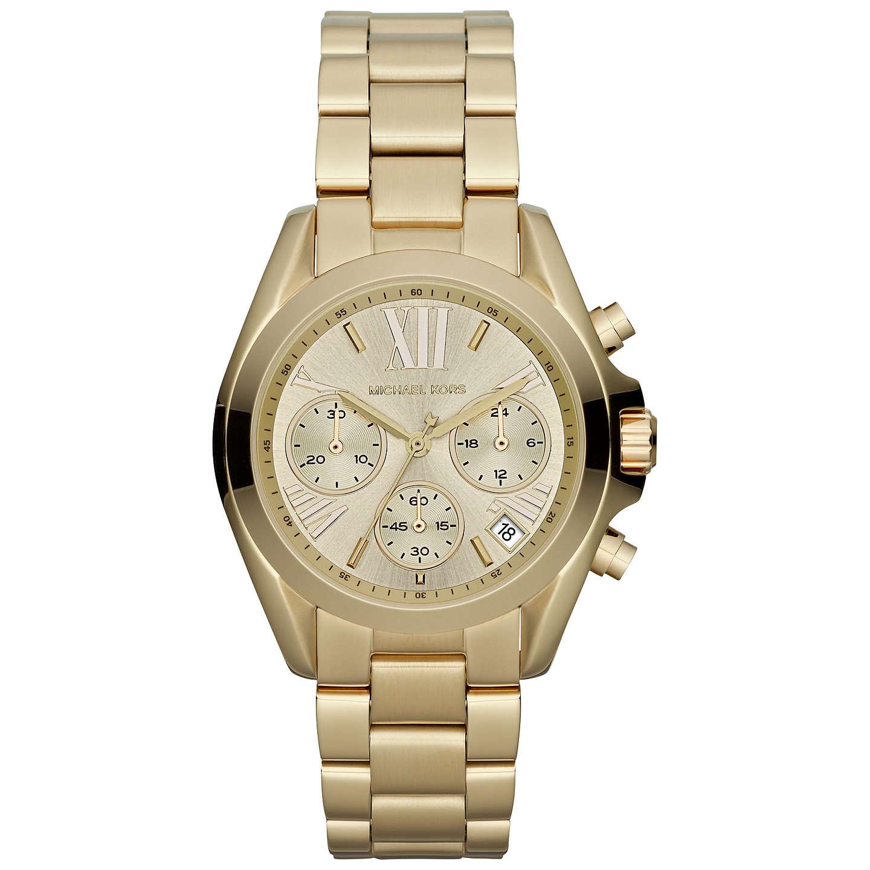 Michael Kors Mk5798 Women S Mini Bradshaw Stainless Steel Bracelet Strap Watch Gold Online At Johnlewis