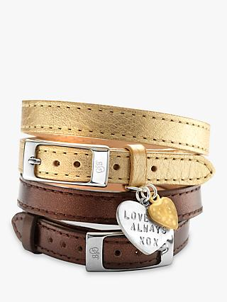 Chambers & Beau Personalised Leather Double Wrap Heart Bracelet, Gold