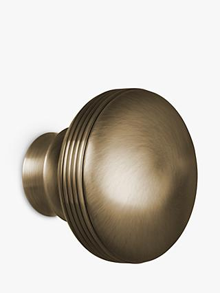 John Lewis & Partners Antique Brass Ribbed Ball Finial, Dia.28mm