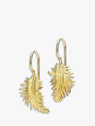 Dower & Hall 18ct Gold Vermeil Small Feather Drop Earrings