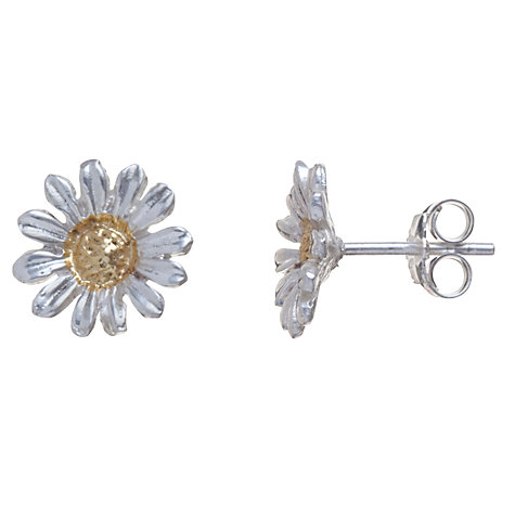 Buy Martick Sterling Silver Daisy Stud Earrings, Silver / Gold Online at johnlewis.com
