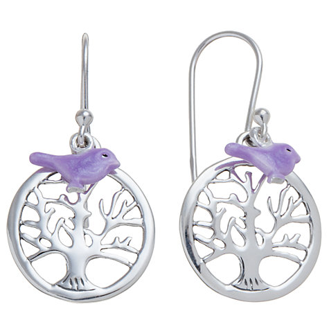 Buy Martick Sterling Silver Tree of Life Bird Earrings, Purple Online at johnlewis.com