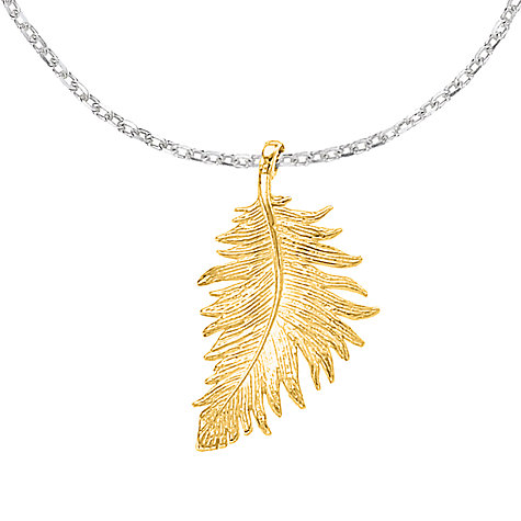 Buy Dower & Hall Small Vermeil Feather Pendant Online at johnlewis.com