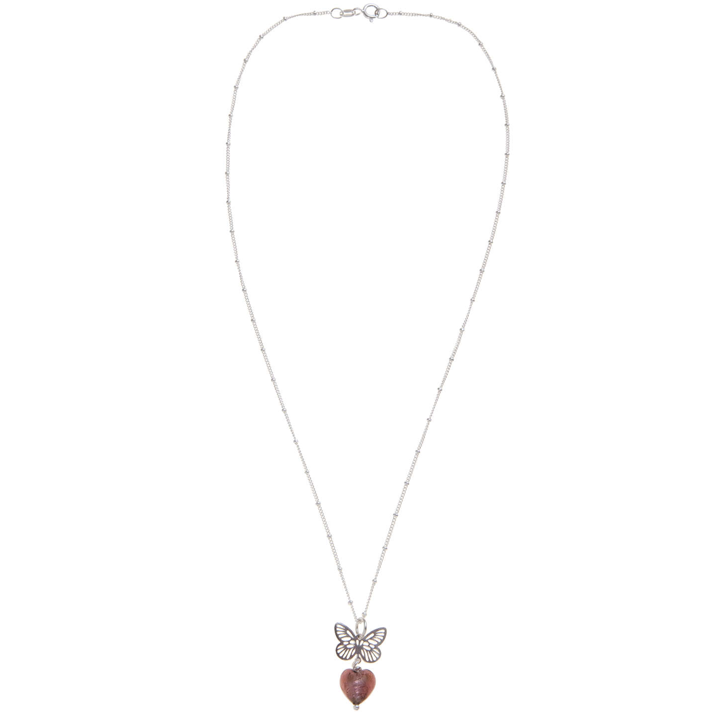 BuyMartick Butterfly and Heart Pendant Necklace, Plum Online at johnlewis.com