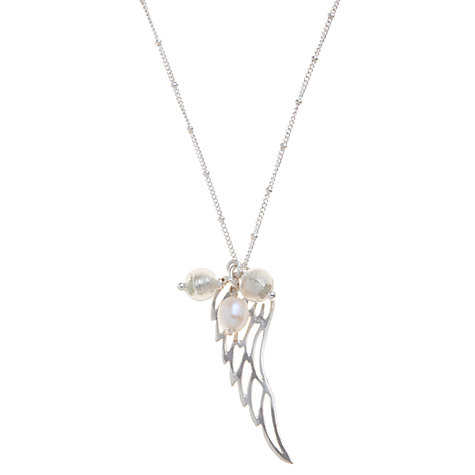 Buy Martick Angel Wing Pendant Necklace, Silver/White Online at johnlewis.com