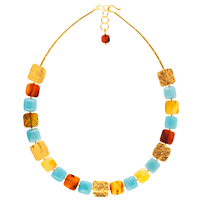 BeJewelled Amber and Amazonite Square Statement Necklace Multi