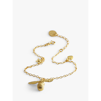 Alex Monroe 22ct Gold Plated Baby Bee Charm Bracelet, Gold
