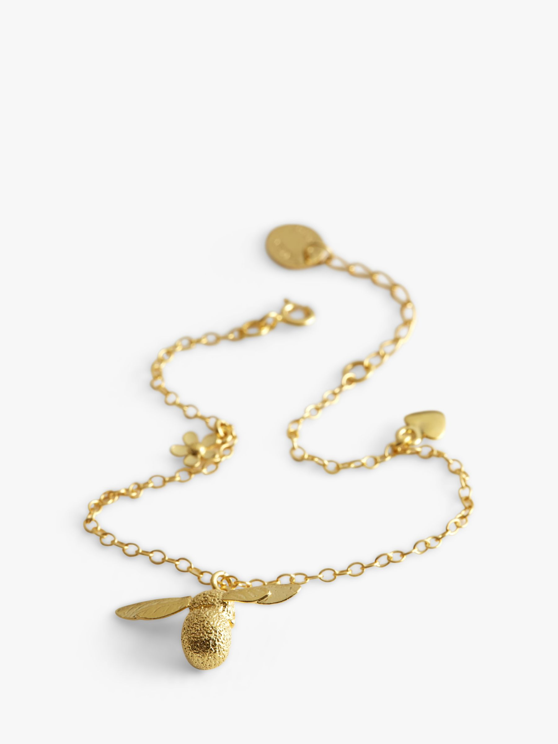 Alex Monroe Alex Monroe 22ct Gold Plated Baby Bee Charm Bracelet, Gold