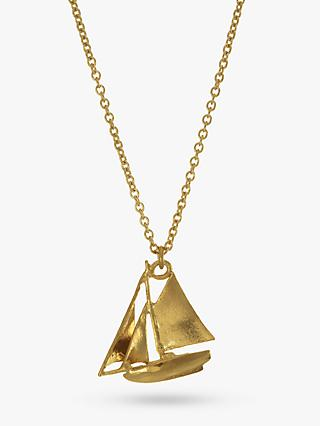 Alex Monroe 22ct Gold Vermeil Sailing Boat Necklace, Gold