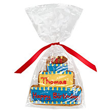 Buy Image on Food Personalised Happy Birthday Cake Boy Gingerbread, Pack of 10 Online at johnlewis.com