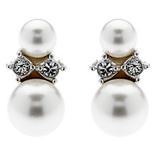 Buy Finesse Double Faux Pearl Swarovski Crystal Stud Earrings, White Online at johnlewis.com