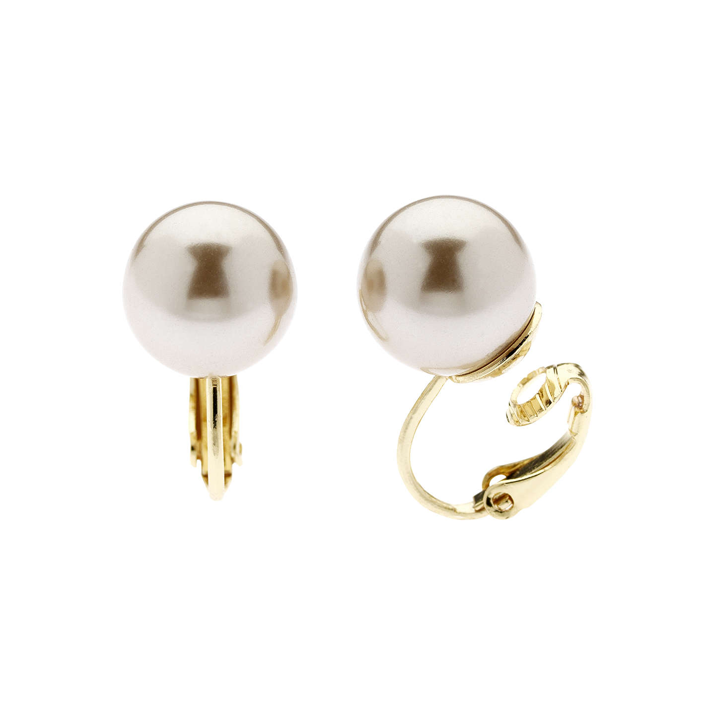 Finesse Faux Pearl Clip On Earrings Bronze Online At Johnlewis