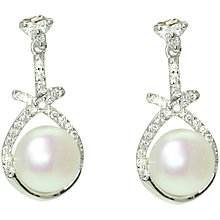 Buy Lido Pearls Cubic Zirconia Triangle Earrings, Silver/White Online at johnlewis.com