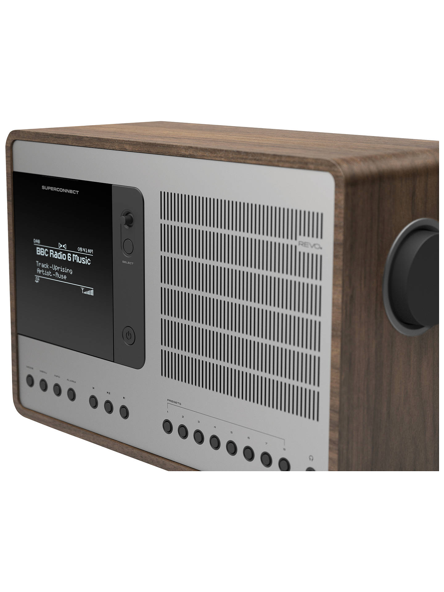 Revo SuperConnect DAB, FM & Internet Radio with Spotify, DLNA and  Bluetooth, Walnut/Silver