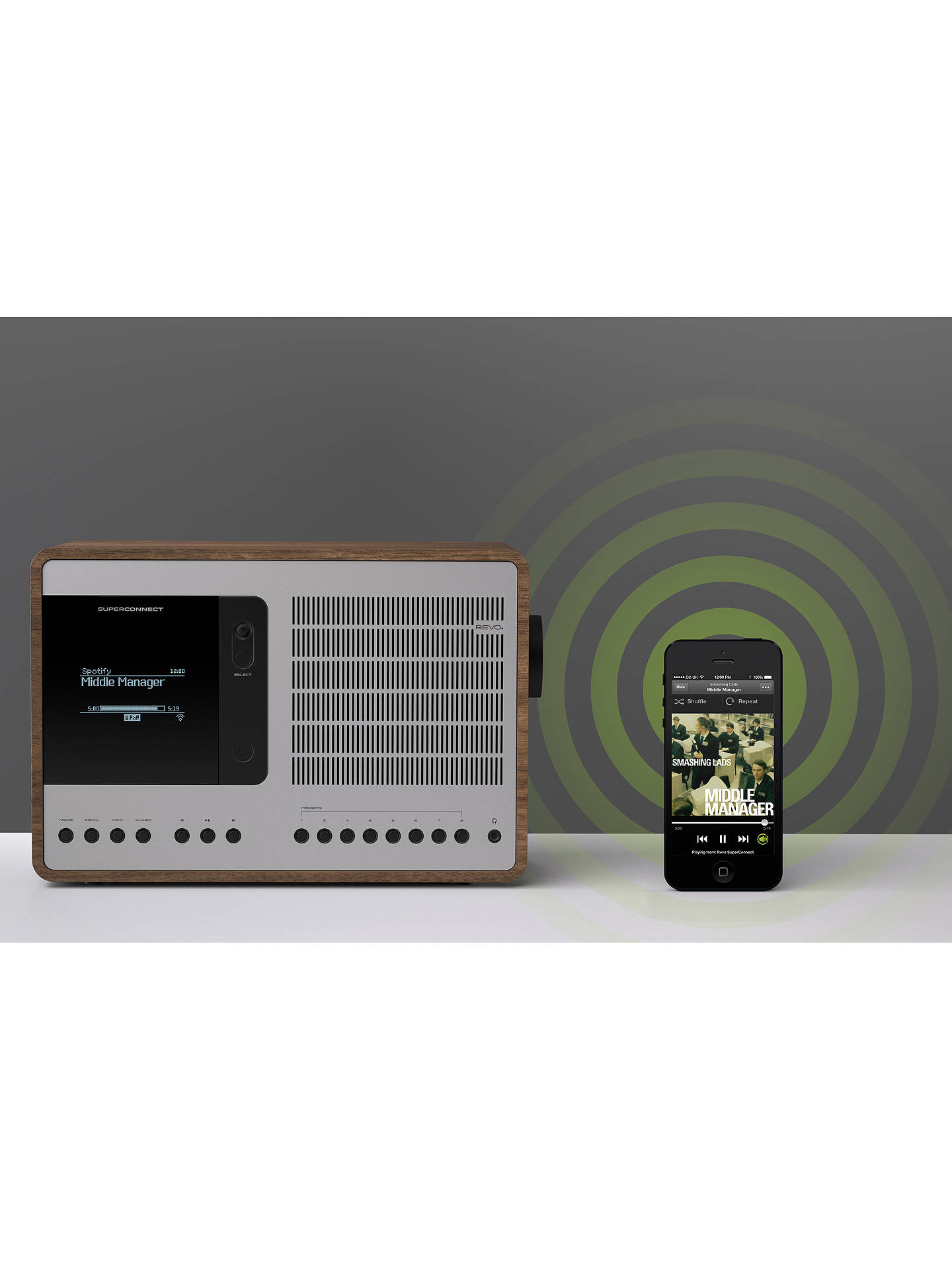 BuyRevo SuperConnect DAB, FM & Internet Radio with Spotify, DLNA and Bluetooth, Walnut/Silver Online at johnlewis.com