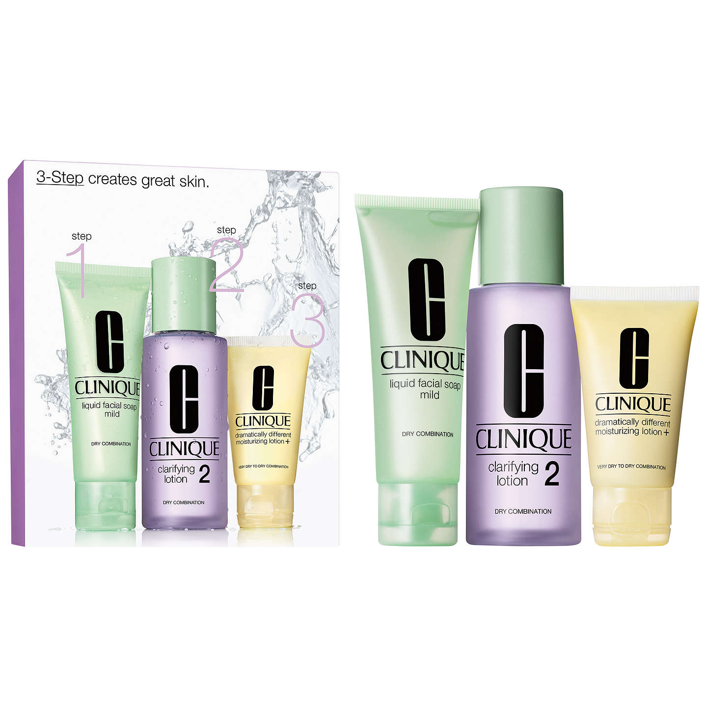 BuyClinique 3-Step Skincare 2 Introduction Kit, Dry Combination Online at johnlewis.com