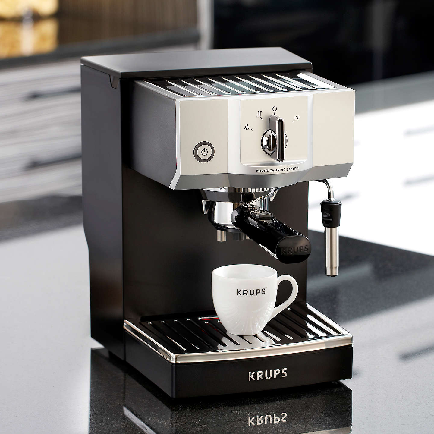 krups xp5620 espresso coffee machine black at john lewis. Black Bedroom Furniture Sets. Home Design Ideas