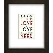 Buy East of India All You Need Is Love Framed Print, 27 x 23cm Online at johnlewis.com