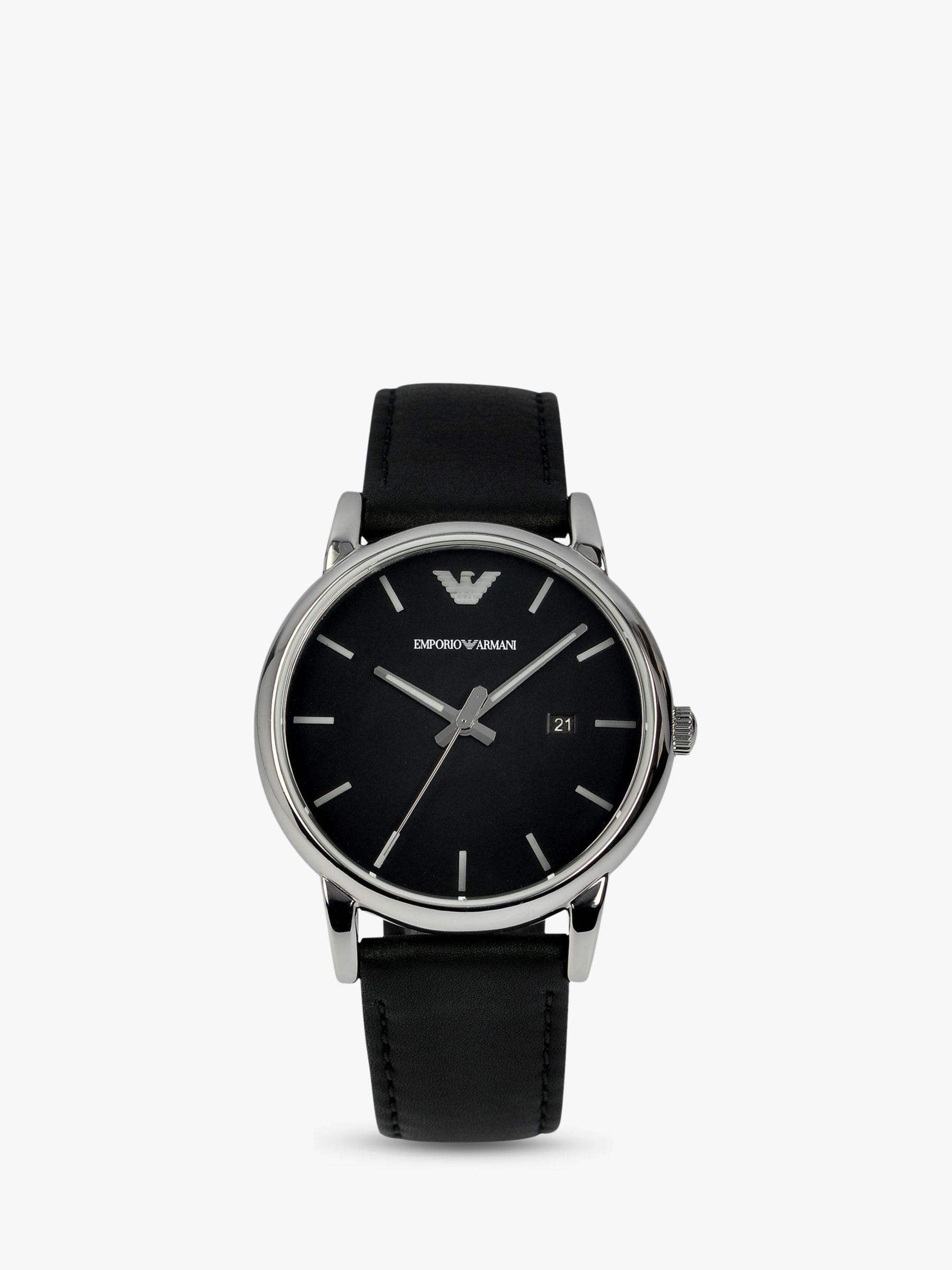 4ac597a061 Emporio Armani AR1692 Men's Leather Strap Watch, Black