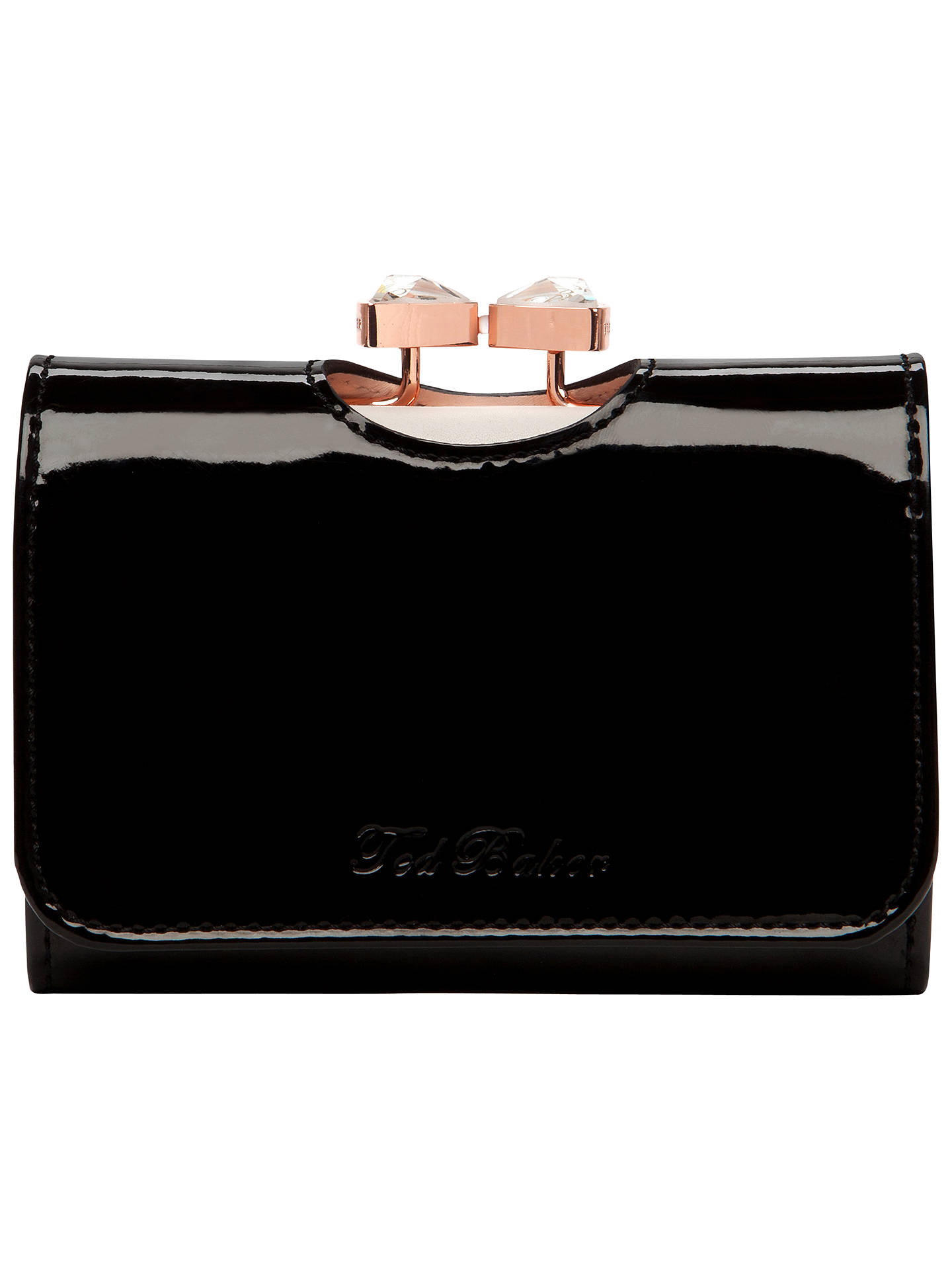 21f99998dbbd Ted Baker Tyro Crystal Bow Bobble Patent Small Purse at John Lewis ...