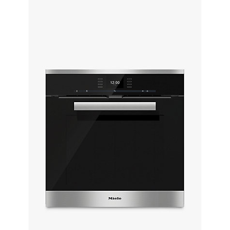 buy miele h6660bp pureline single electric oven clean steel john lewis. Black Bedroom Furniture Sets. Home Design Ideas