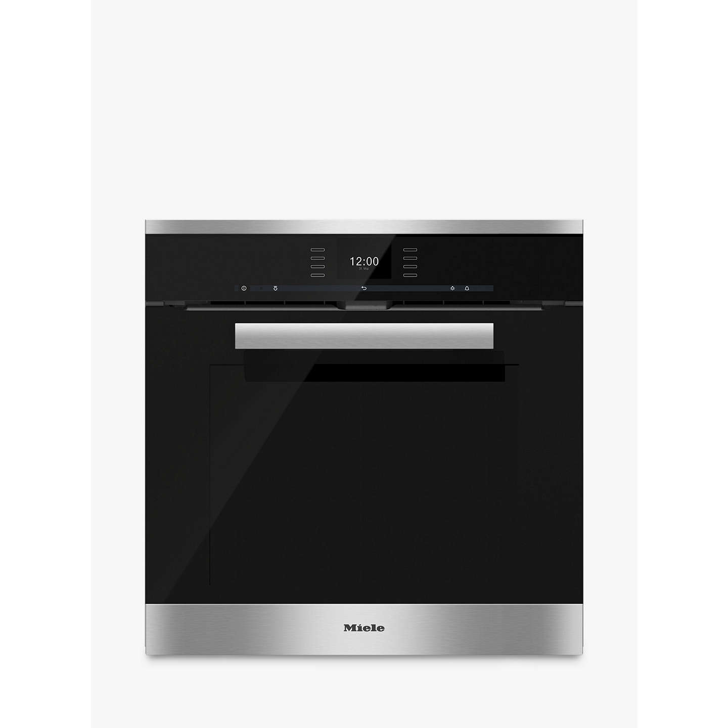 miele h6660bp pureline single electric oven clean steel at john lewis. Black Bedroom Furniture Sets. Home Design Ideas
