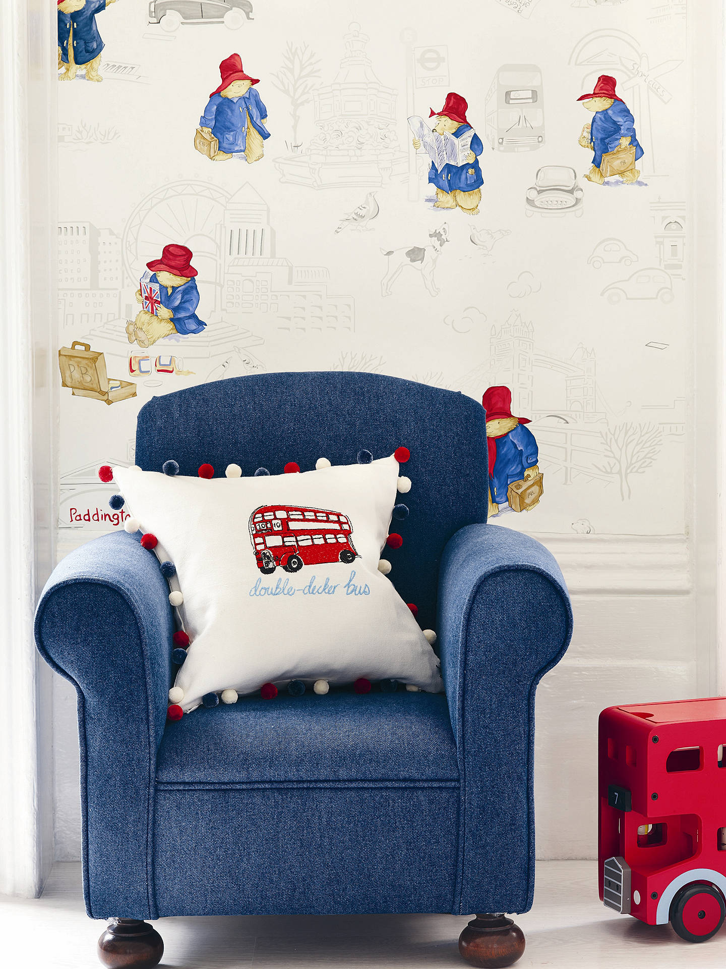Buy Jane Churchill London Paddington Wallpaper, Red / Blue, J125W-01 Online at johnlewis.com
