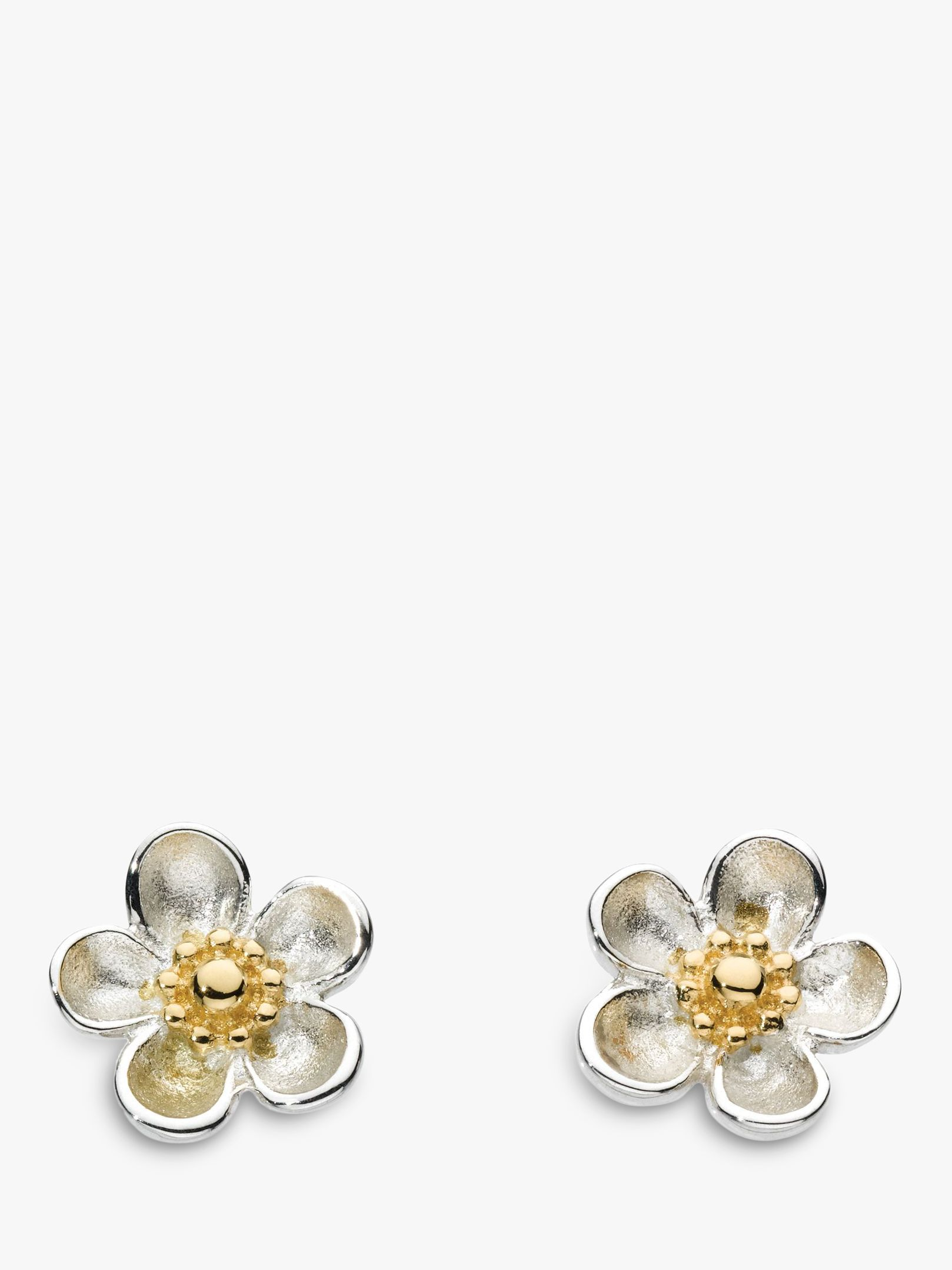 Kit Heath Kit Heath Budding Blossom Sterling Silver Stud Earrings, Silver / Gold