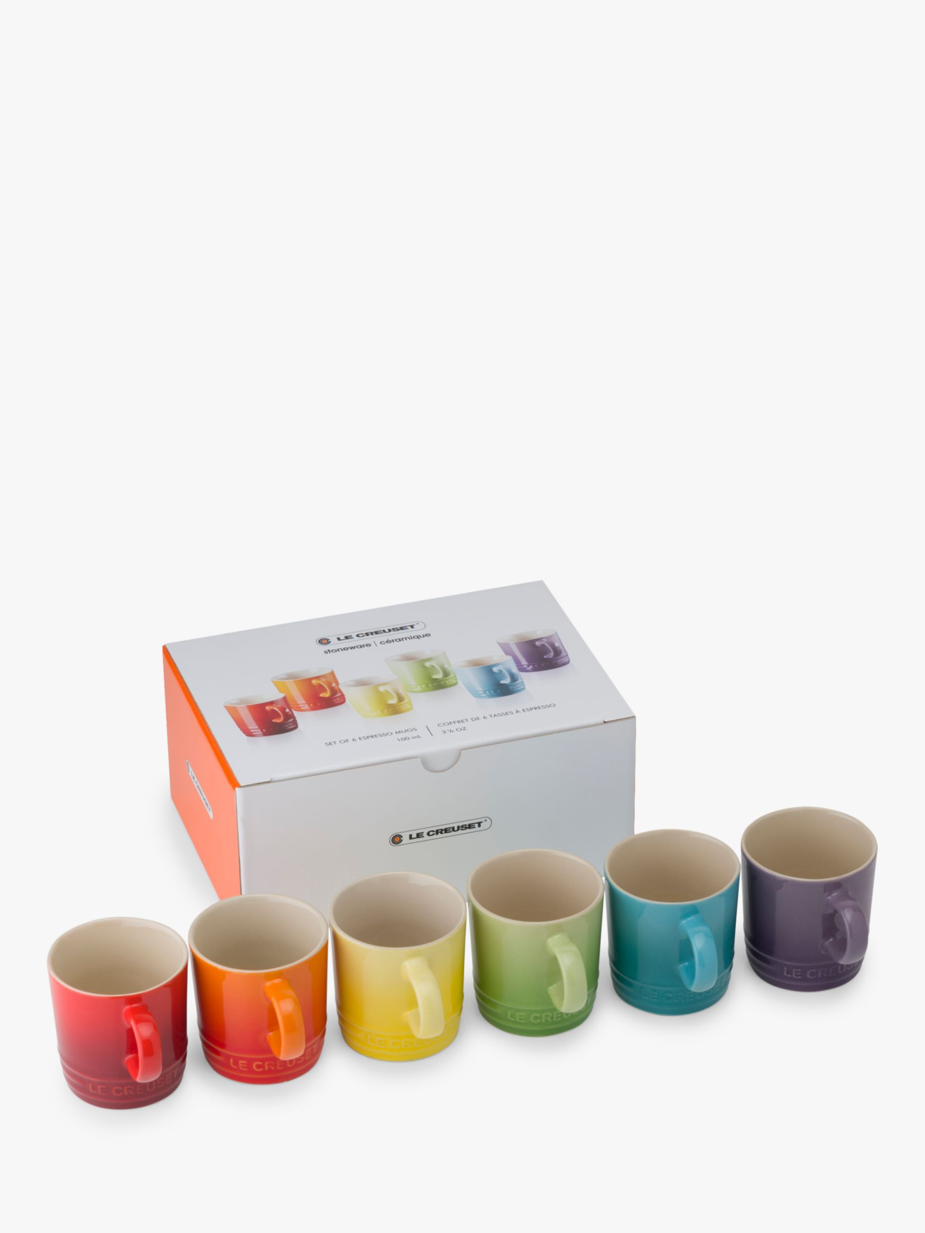 Le Creuset Le Creuset Rainbow Stoneware Espresso Mugs, Set of 6, 100ml