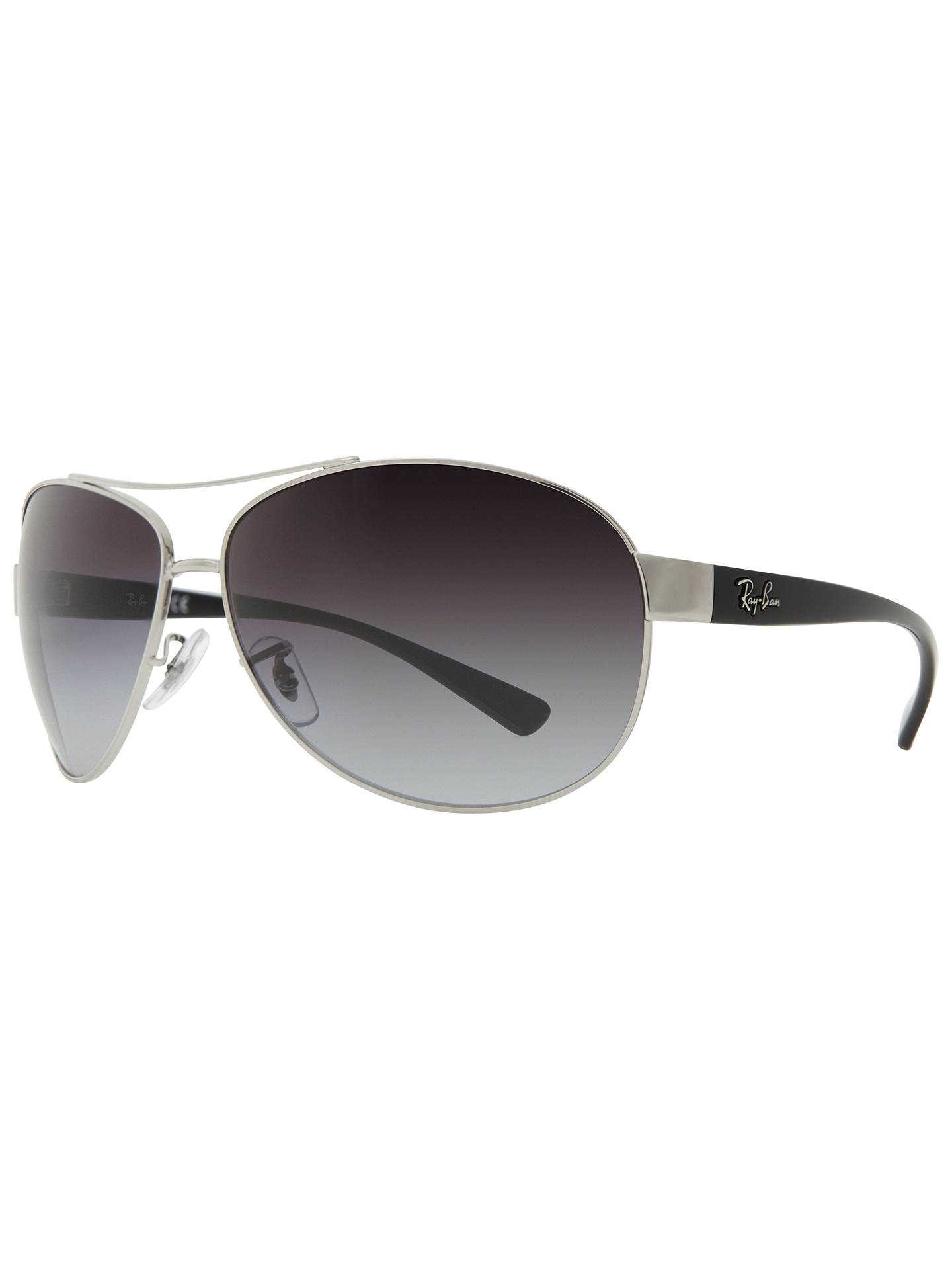 a6257d32bc Buy Ray-Ban RB3386 Oval Aviator Sunglasses, Silver/Grey Online at johnlewis.