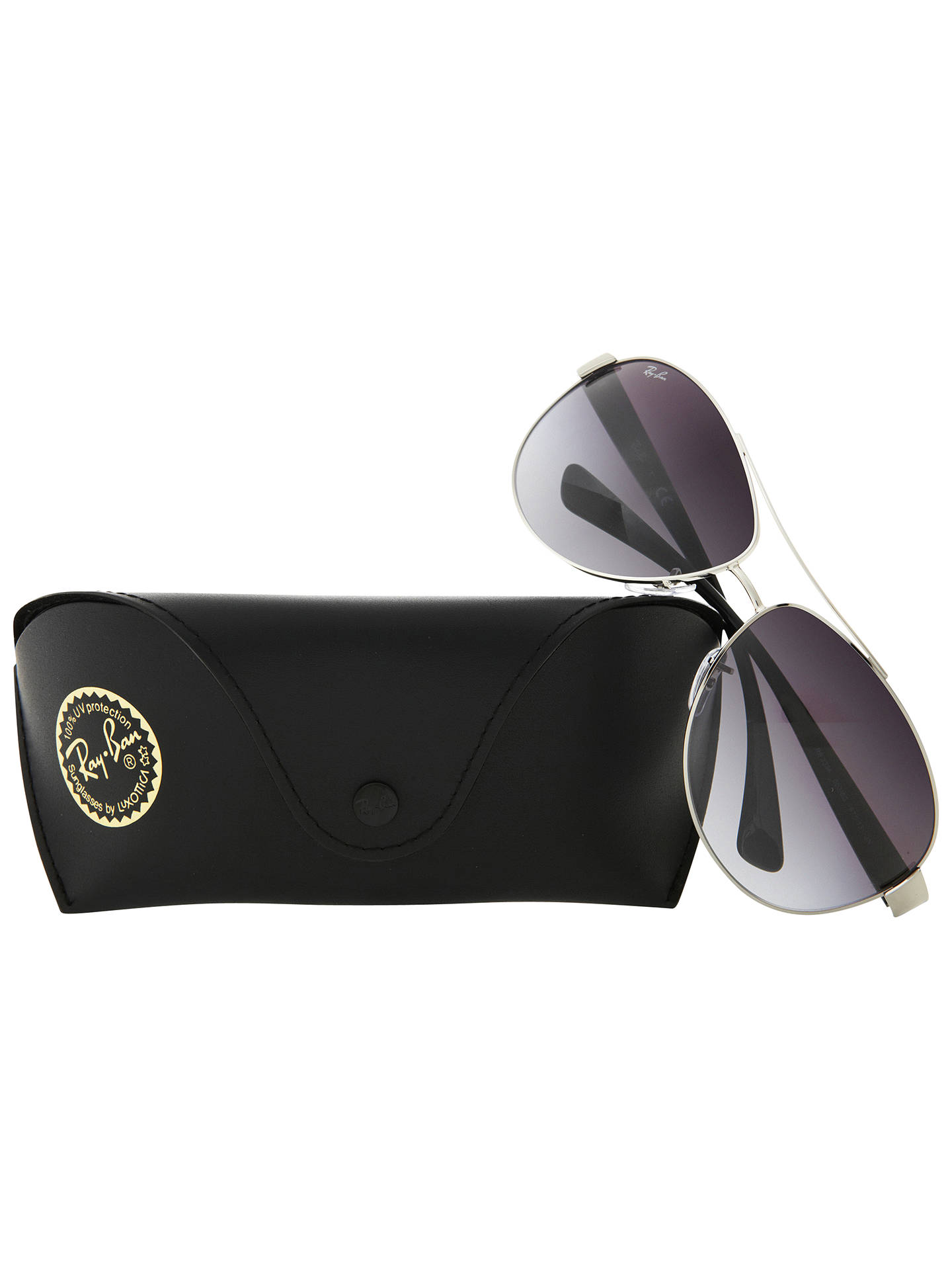 BuyRay-Ban RB3386 Oval Aviator Sunglasses, Silver/Grey Online at johnlewis.com