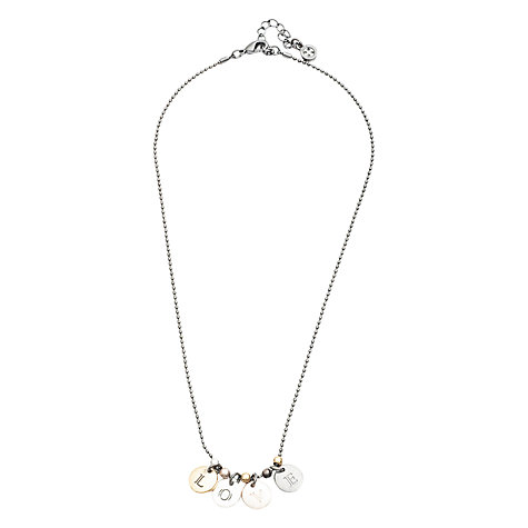 Buy One Button Love Drop Hematite Necklace, Silver / Gold Online at johnlewis.com