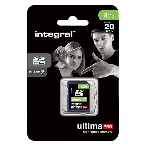 Buy Integral Ultimapro 8GB, Class 10 SDHC Memory Card, up to 20MB/s Online at johnlewis.com