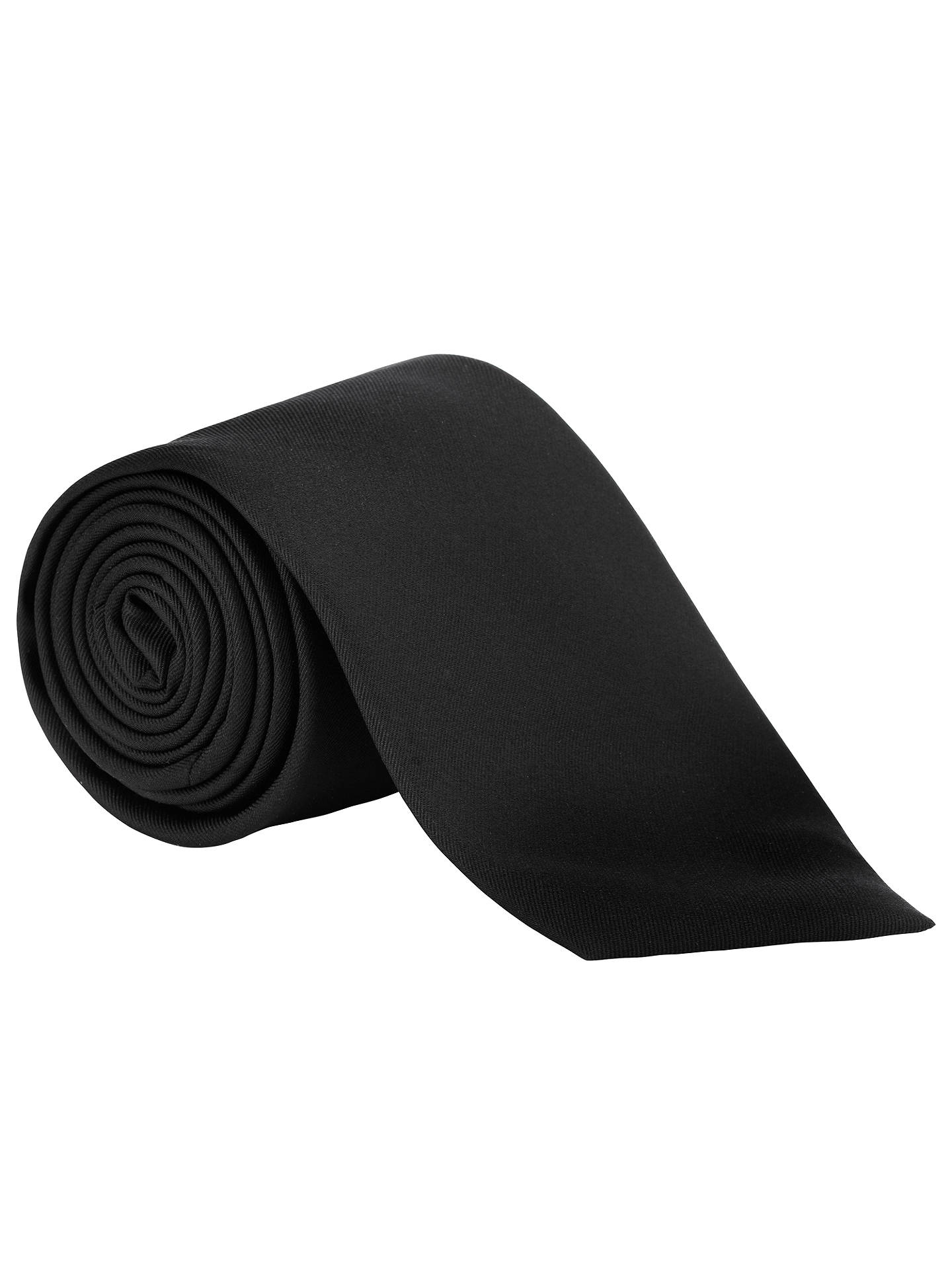 22a25b10abfb Buy John Lewis & Partners Fine Twill Plain Silk Tie, Black Online at  johnlewis.