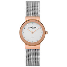 Buy Skagen 358SRS Women's Stainless Steel Bracelet Strap Watch, Silver/White Online at johnlewis.com