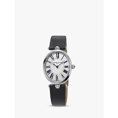 Frédérique Constant FC-200MPW2V6 Women's Classic Art Deco Oval Leather Strap Watch, Silver/Grey Satin