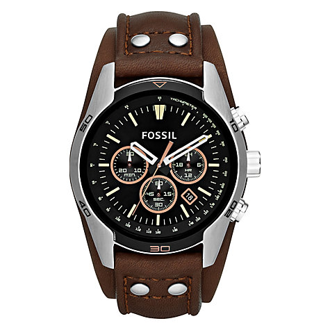 fossil men s watches john lewis buy fossil ch2891 men s coachman chronograph leather strap watch brown black online at johnlewis