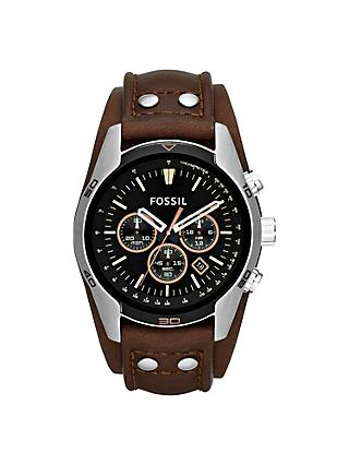 Fossil CH2891 Men's Coachman Chronograph Leather Strap Watch, Brown/Black