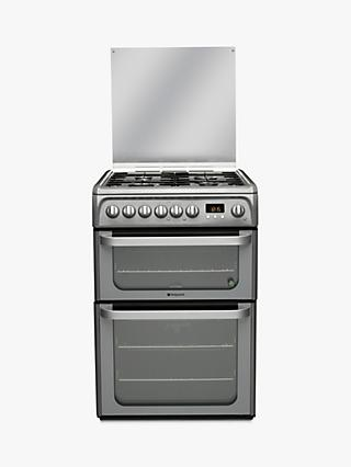 Hotpoint HUD61GS Dual Fuel Cooker, Graphite