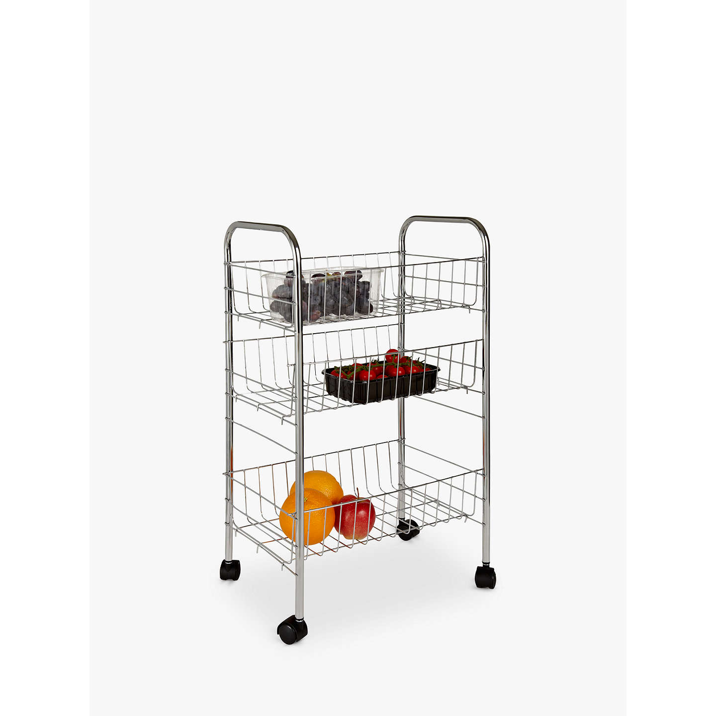 Wenko 3 Tier Metal Vegetable Trolley, Silver at John Lewis