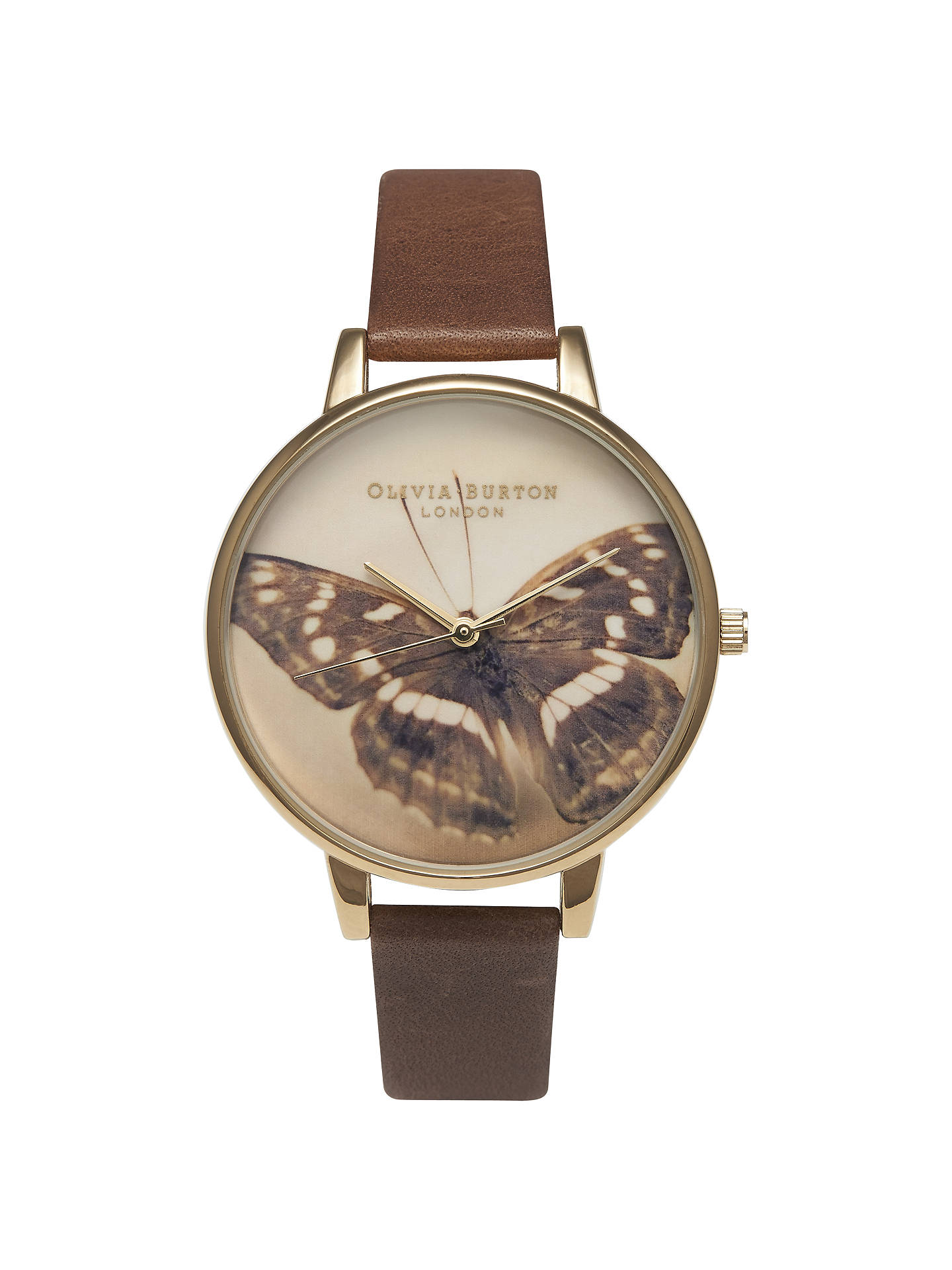 BuyOlivia Burton OB13WL011 Women's Butterfly Motif Leather Strap Watch, Brown Online at johnlewis.com